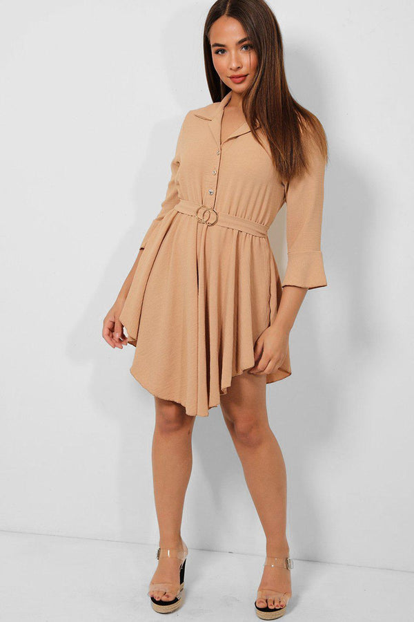 Beige Belted Asymmetric Hem Shirt Dress - SinglePrice