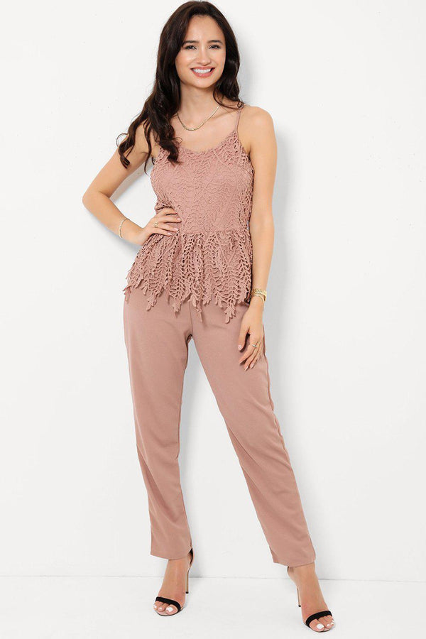 Dusty Pink Crochet Lace Top Cami Jumpsuit-SinglePrice