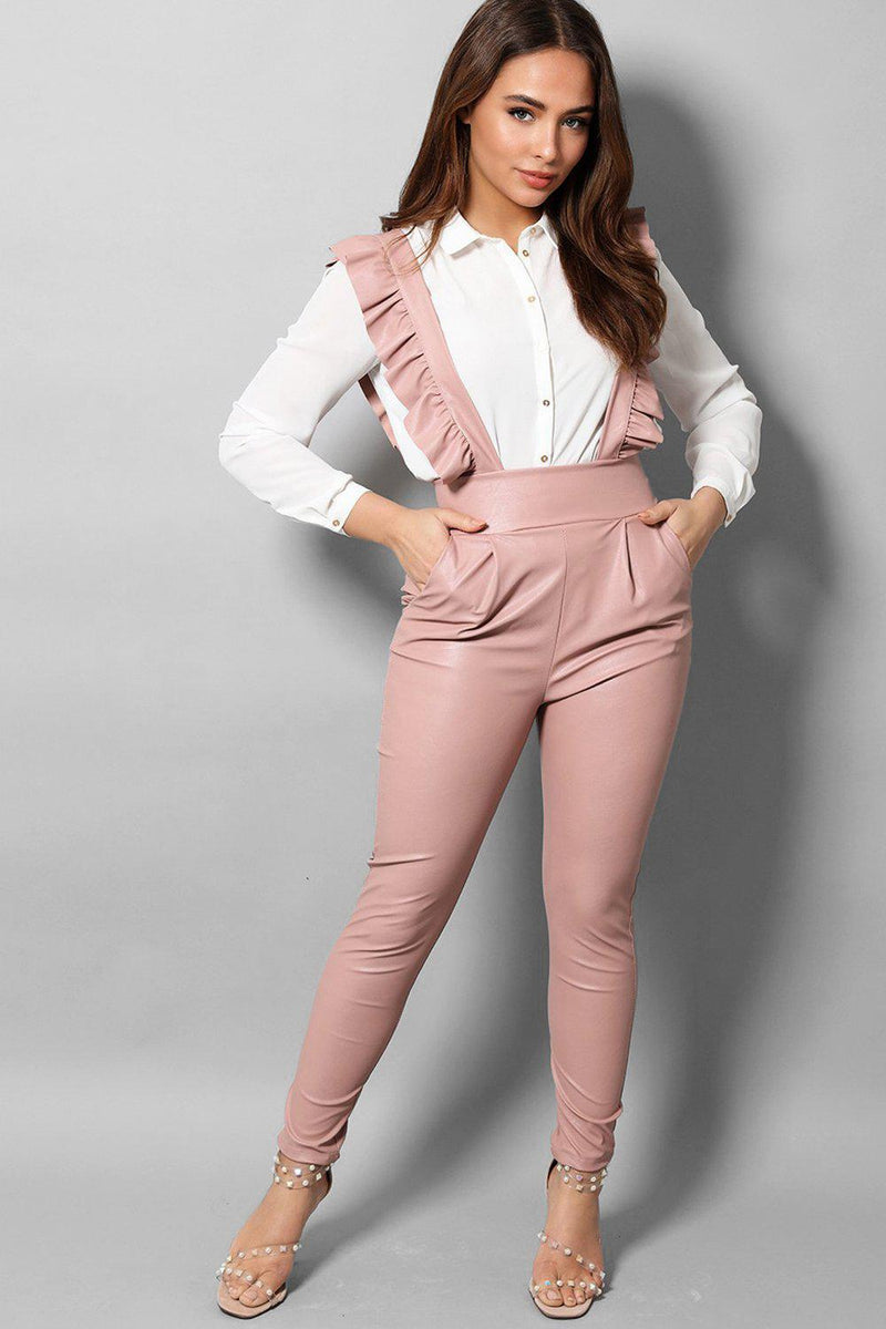 Pink Vegan Leather High Waist Pinafore Trousers - SinglePrice