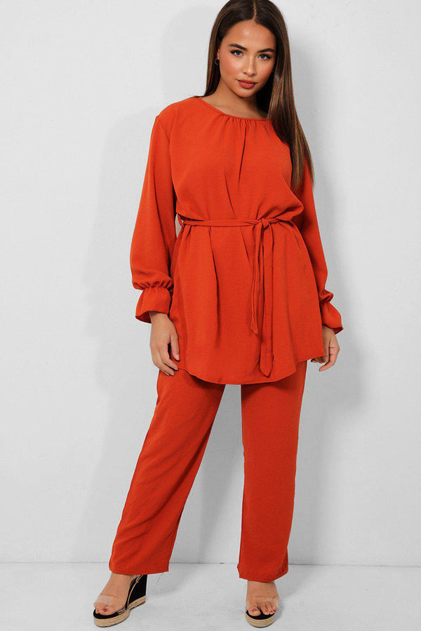 Rust Self Belt Tunic And Wide Leg Trousers Set - SinglePrice