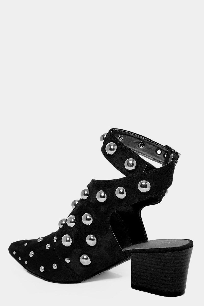 Dom Studs Embellished Black Open Back Pointy Boots - SinglePrice