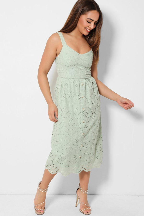 Light Green Crochet Lace Overlay Cami Midaxi Dress - SinglePrice