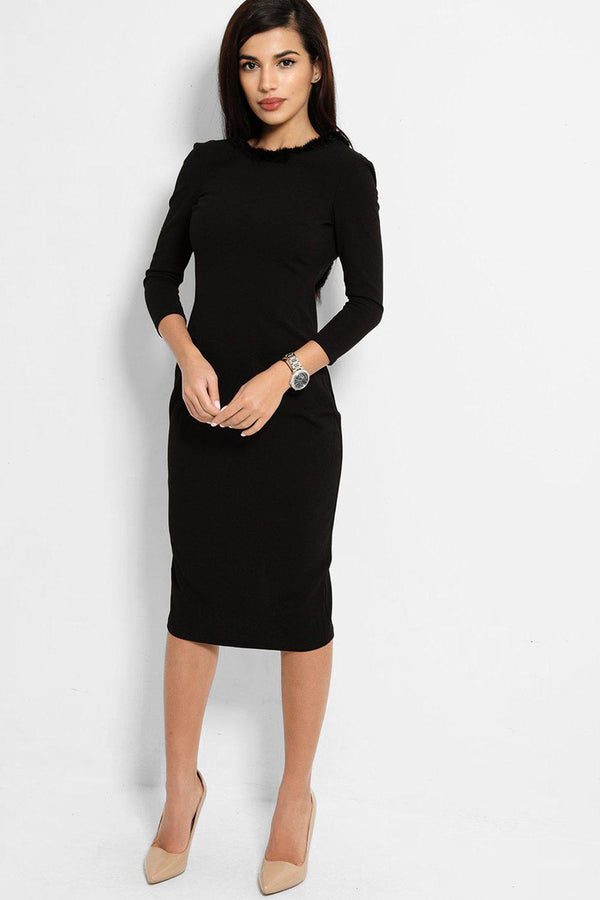 Black Faux Fur Trims Open Back Midi Dress - SinglePrice