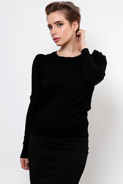Puff Sleeve Black Fine Knit Jumper-SinglePrice