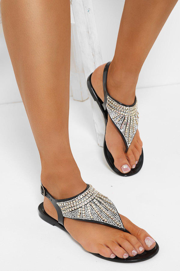 Black Encrusted Thong Jelly Sandals-SinglePrice