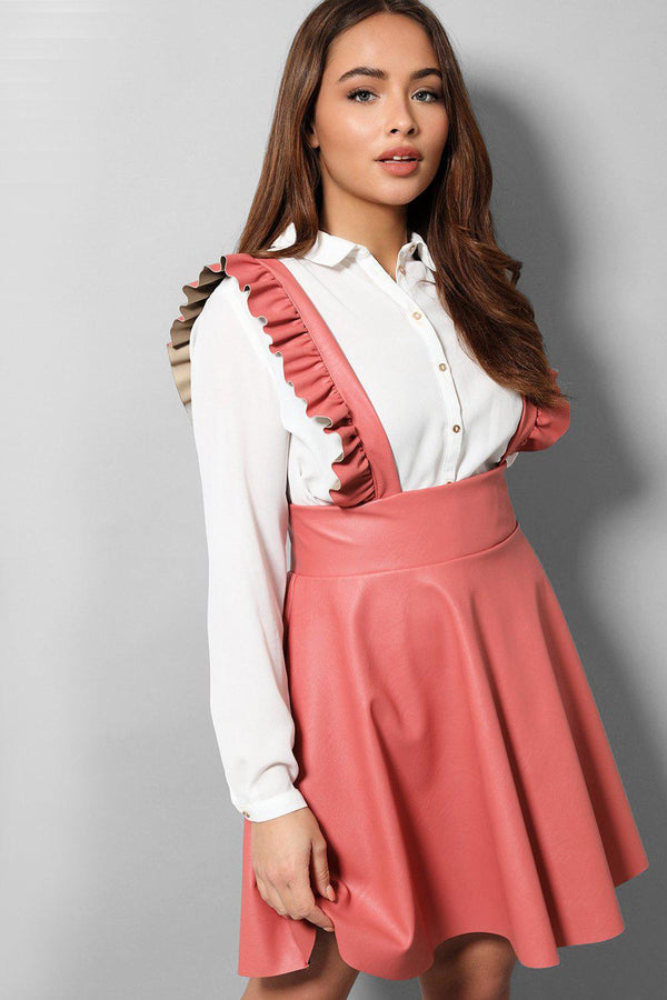 Pink Vegan Leather Pinafore Skirt - SinglePrice