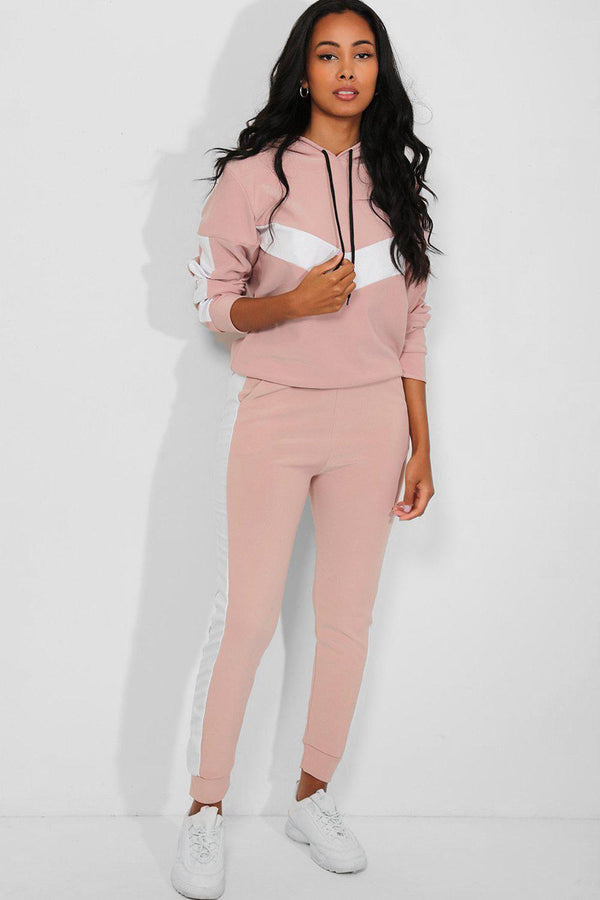 White Vegan Leather Stripe Pink 2 Piece Lounge Set