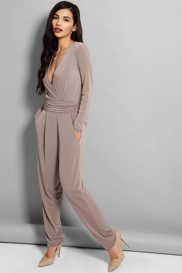 Taupe Cowl Back Jumpsuit