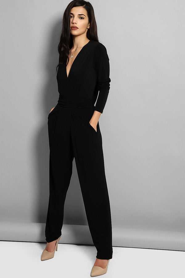 Black Cowl Back Jumpsuit - SinglePrice