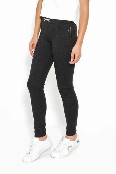 Gold Buckle Grey Thick Leggings-SinglePrice