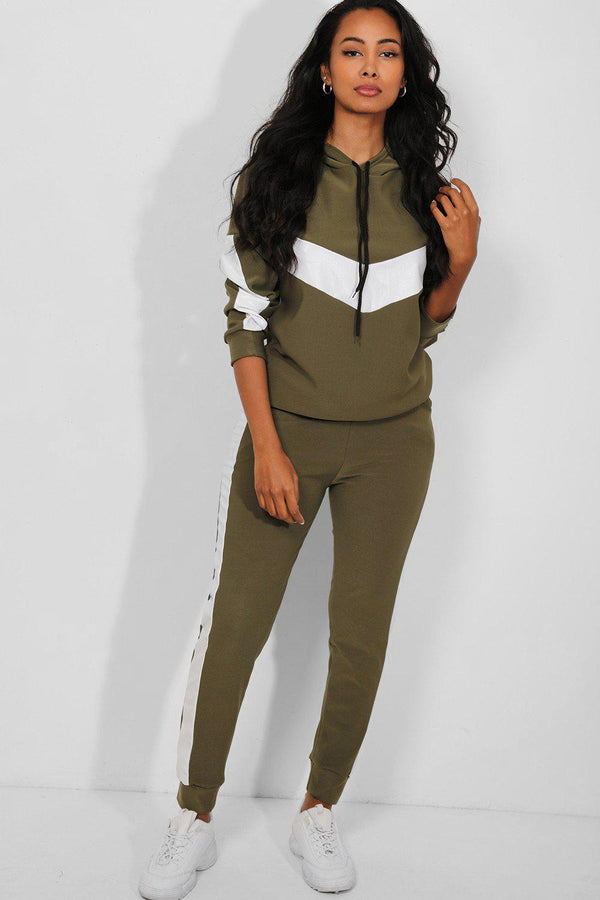 White Vegan Leather Stripe Khaki 2 Piece Lounge Set