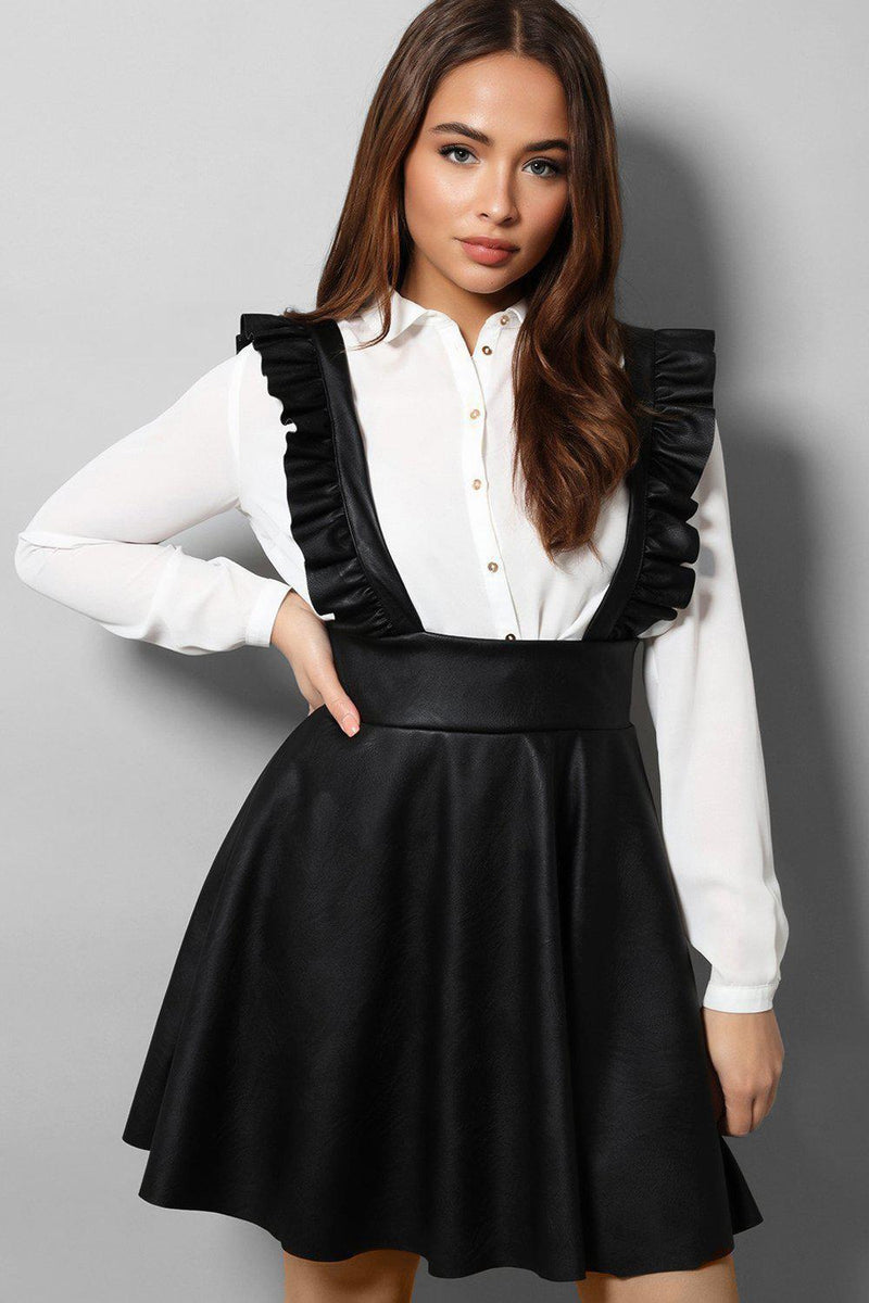 Black Vegan Leather Pinafore Dress - SinglePrice