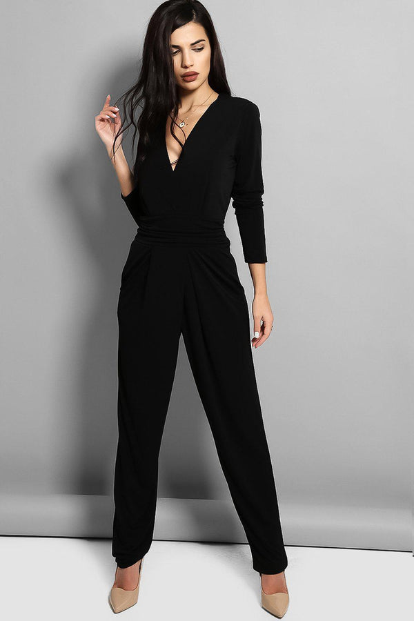 Black Cowl Back Jumpsuit