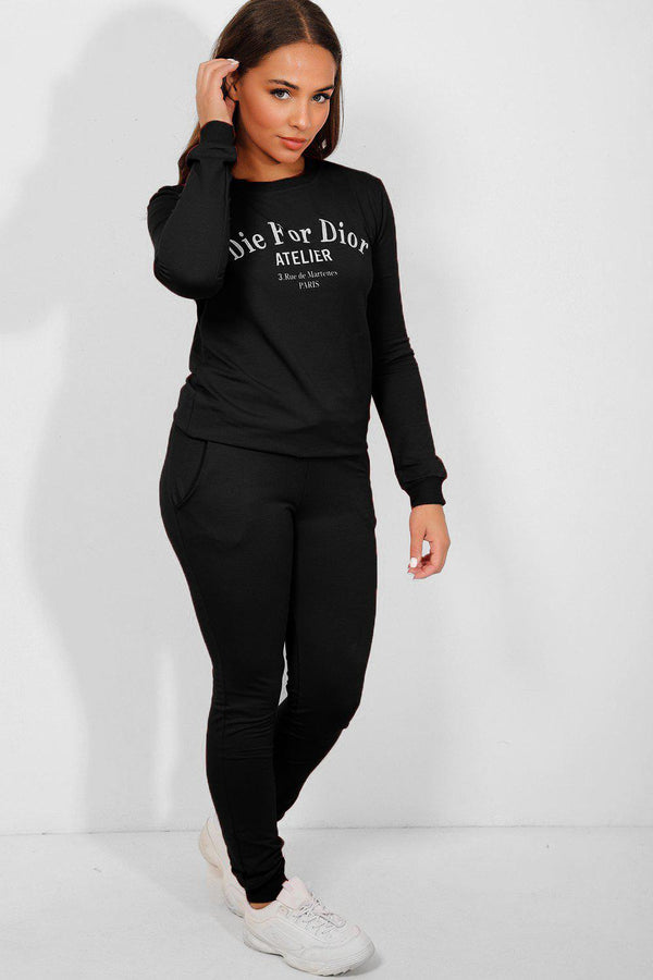 Black Statement Slogan Tracksuit - SinglePrice