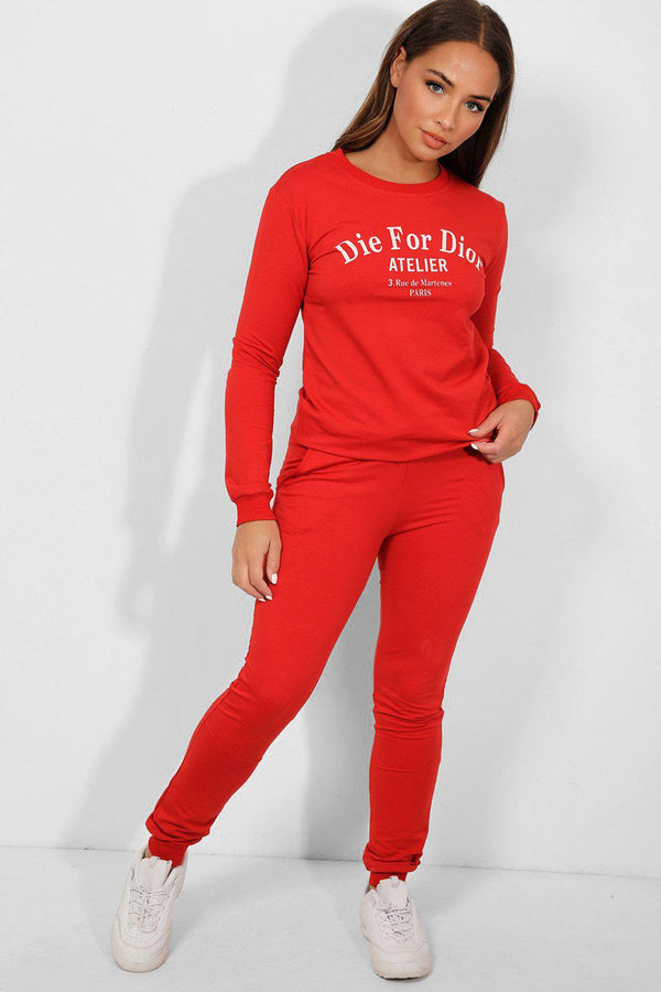 Red Statement Slogan Tracksuit - SinglePrice