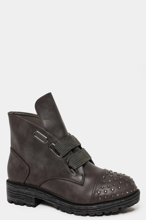 Large Lace Up Beaded Toe Grey Vegan Leather Boots - SinglePrice