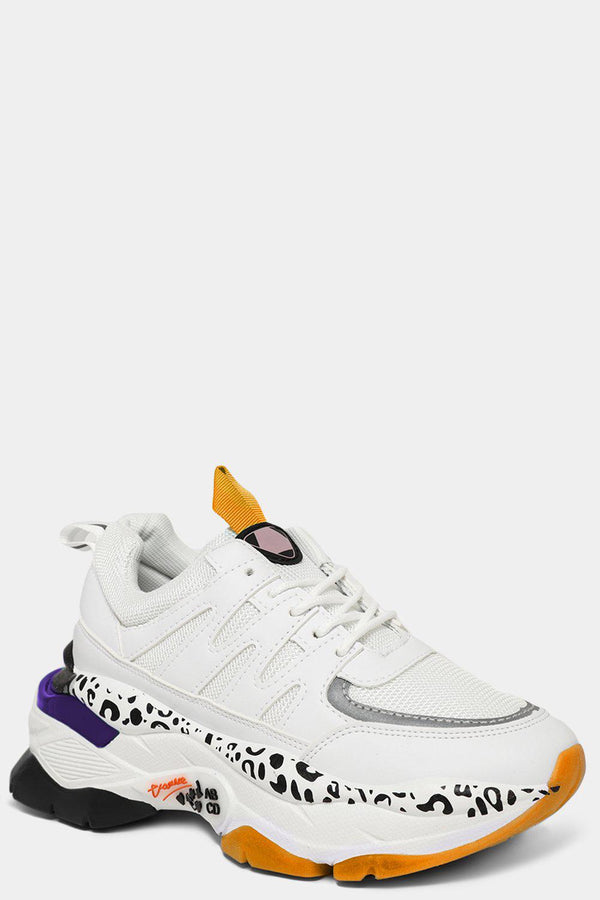 White Orange Mesh Cut Out Panels Chunky Trainers - SinglePrice
