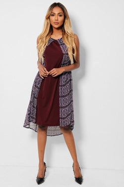 Purple Geo Print Chiffon Overlay Sleeveless Dress - SinglePrice