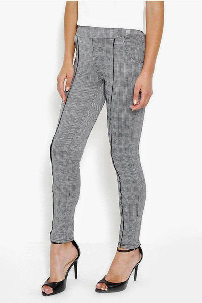 Black Pin Stripe Grey Checked Leggings-SinglePrice