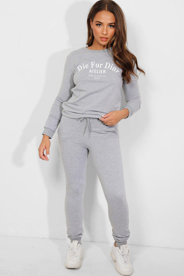 Grey Statement Slogan Tracksuit - SinglePrice