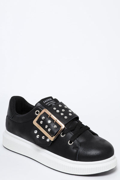 Studded Buckle White Platform Black Trainers-SinglePrice