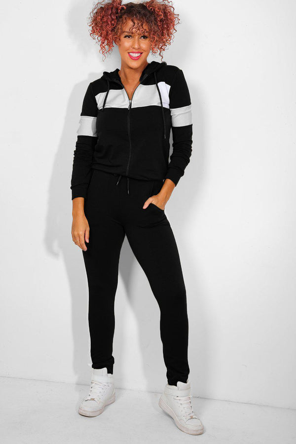 Wide White Panels Black Tracksuit - SinglePrice
