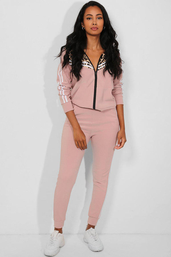 Pink Twin Stripe Detail Leopard Pint Panels 2 Piece Tracksuit