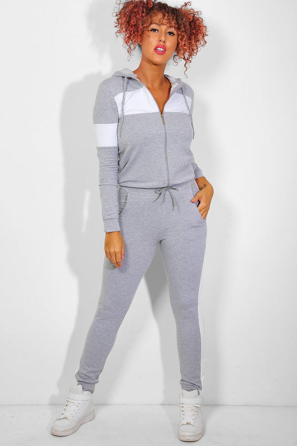 Wide White Panels Grey Tracksuit - SinglePrice