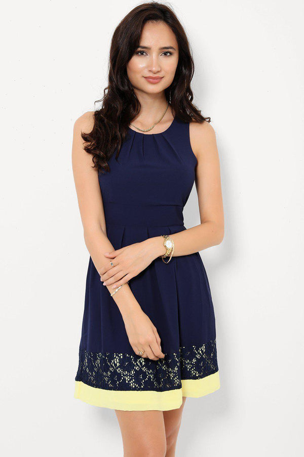 Navy Lazer Cut Yellow  Hem Skater Sleeveless Dress - SinglePrice