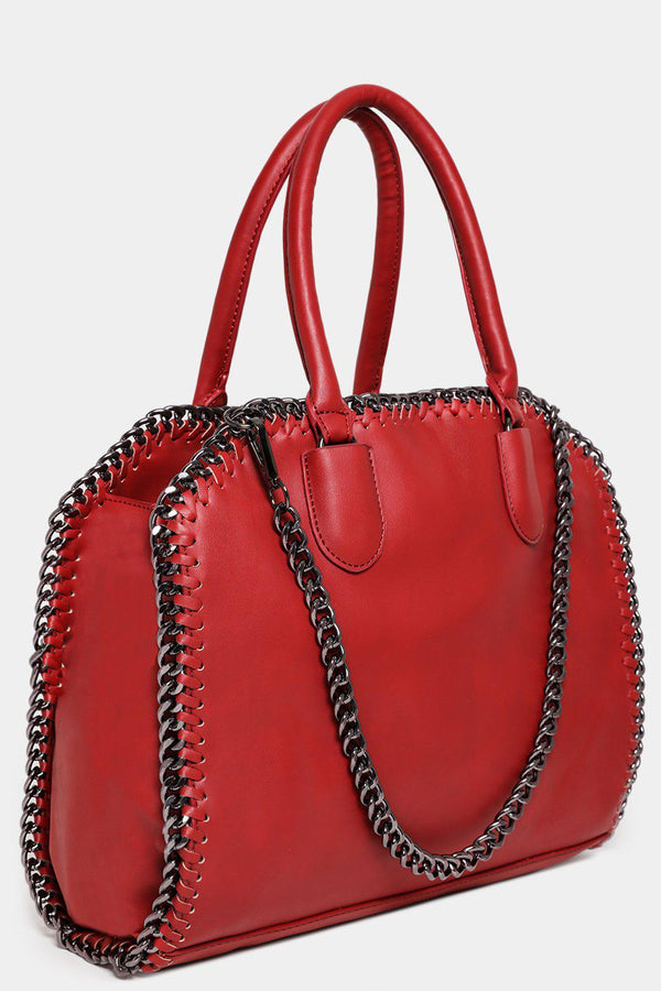 Red Chain Trims Vegan Leather Large Handbag-SinglePrice