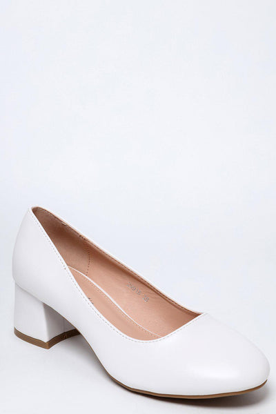 White Vegan Leather Low Flared Heel Pumps-SinglePrice