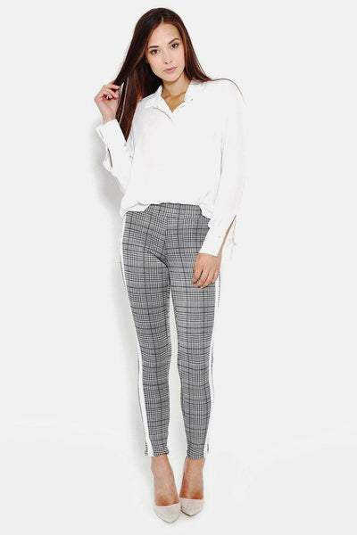 White Stripe Grey Checked Leggings-SinglePrice