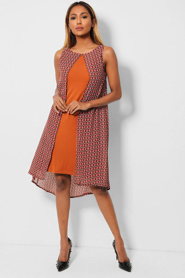 Brown Tiny Abstract Print Chiffon Overlay Sleeveless Dress - SinglePrice