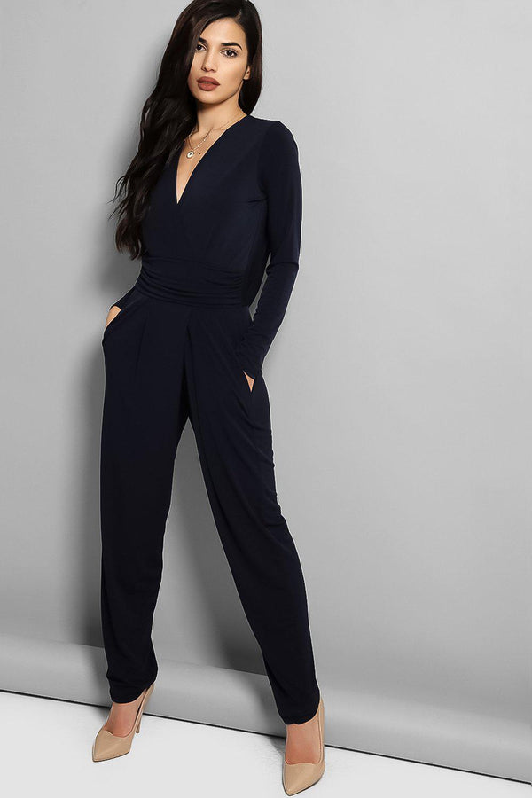 Navy Cowl Back Jumpsuit