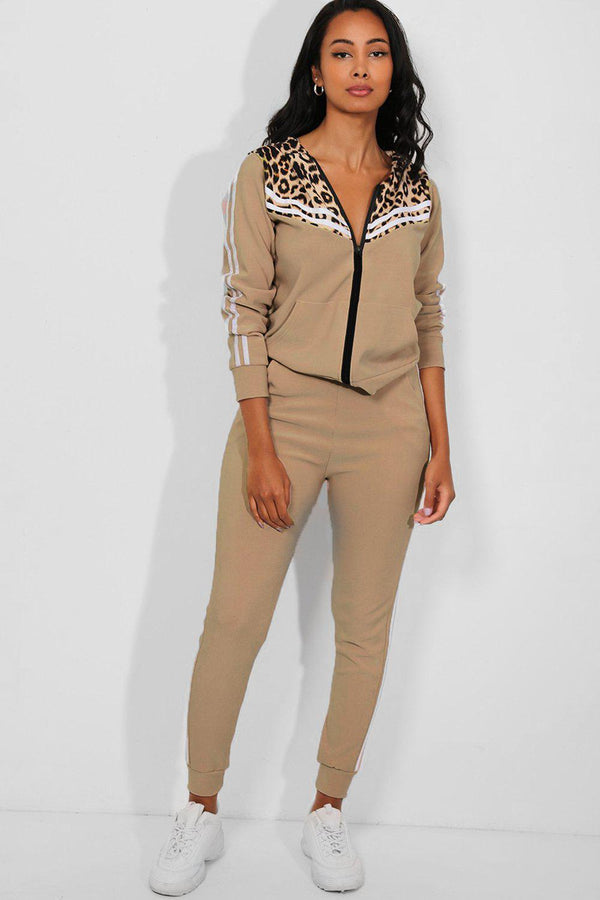 Beige Twin Stripe Detail Leopard Pint Panels 2 Piece Tracksuit
