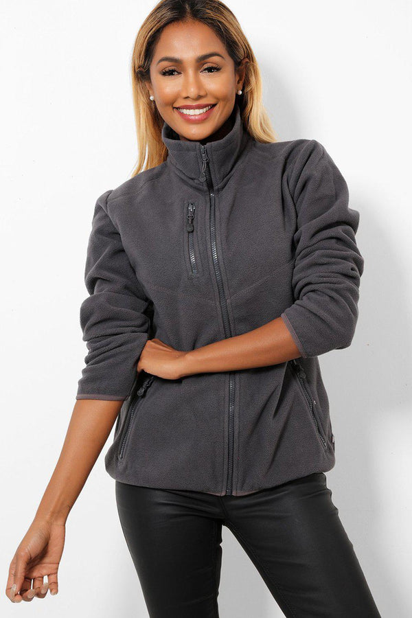 Exposed Zip Pockets Grey Fleece Jacket