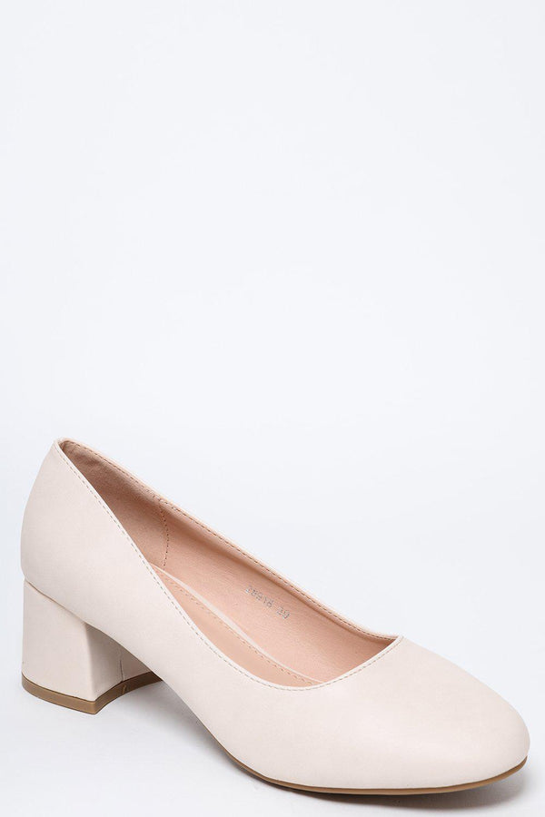 Off White Vegan Leather Low Flared Heel Pumps-SinglePrice
