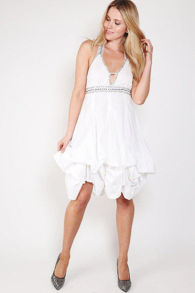 White Sequins Embellished Halterneck Cotton Dress-SinglePrice