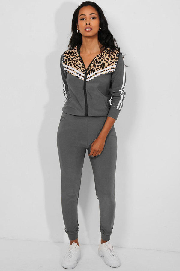 Grey Twin Stripe Detail Leopard Pint Panels 2 Piece Tracksuit