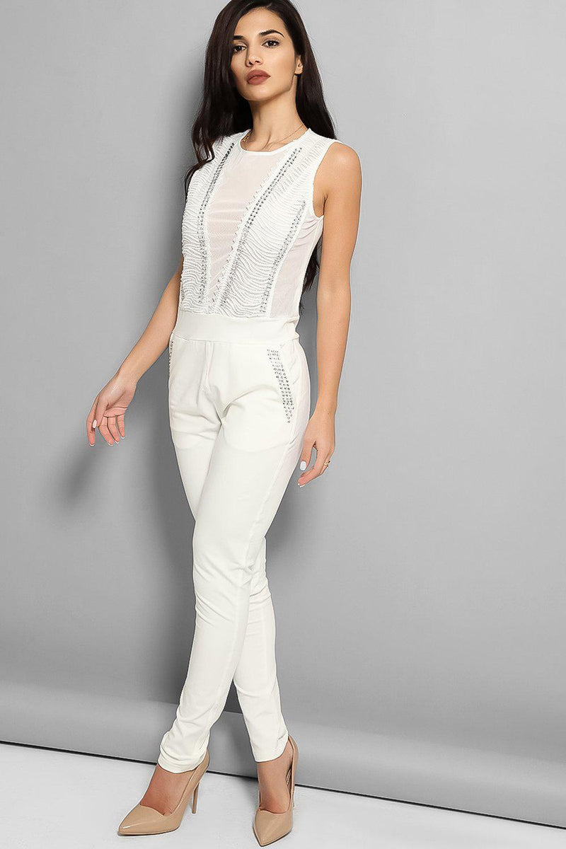 White Studded Mesh Panels Sleeveless Jumpsuit - SinglePrice