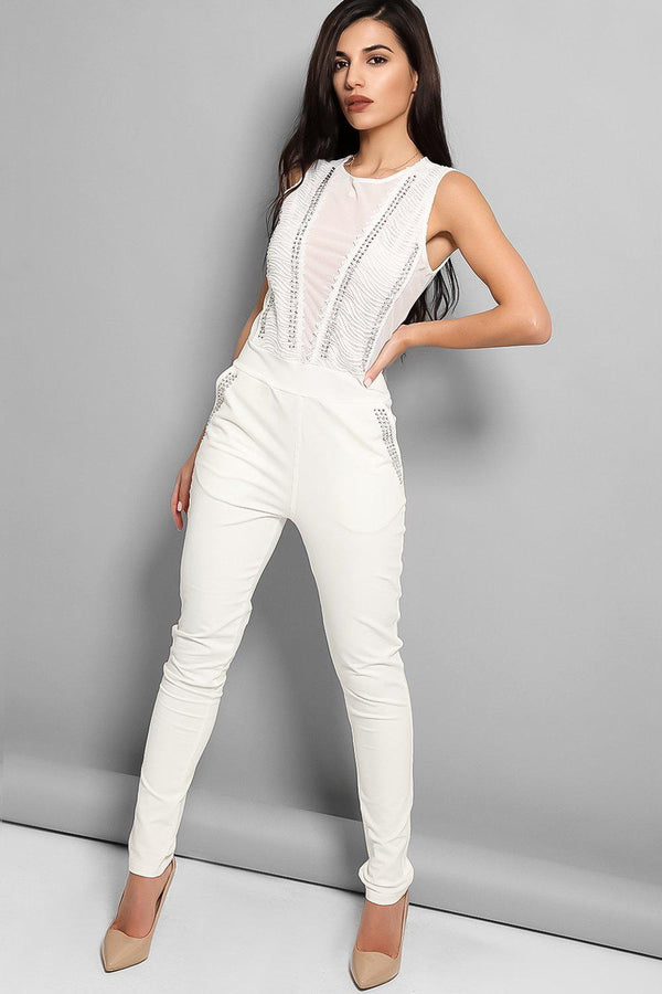White Studded Mesh Panels Sleeveless Jumpsuit-SinglePrice