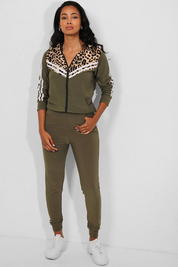 Khaki Twin Stripe Detail Leopard Pint Panels 2 Piece Tracksuit
