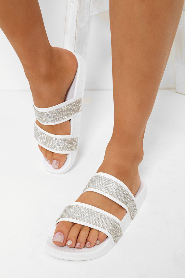 Double Embellished Straps White Sliders-SinglePrice