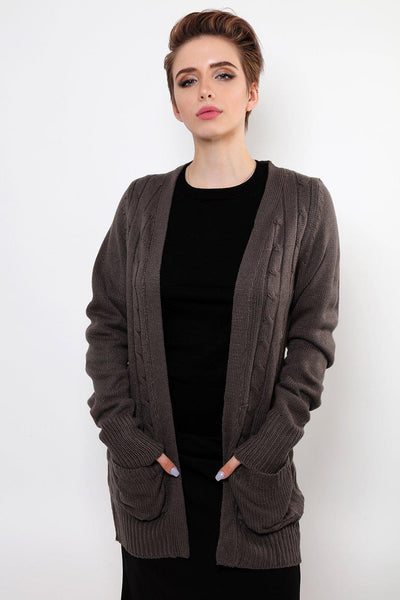 Dark Grey Cable Knit Cardigan-SinglePrice