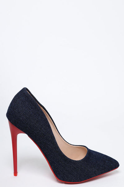 Red Heel Dark Denim Stiletto Heels-SinglePrice
