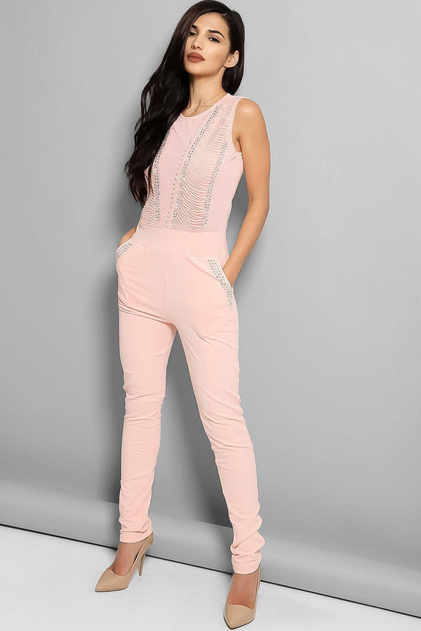 Pink Studded Mesh Panels Sleeveless Jumpsuit-SinglePrice