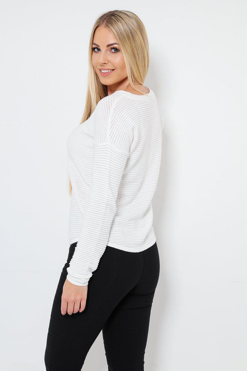 Ribbed Knit Smart White Jumper - SinglePrice