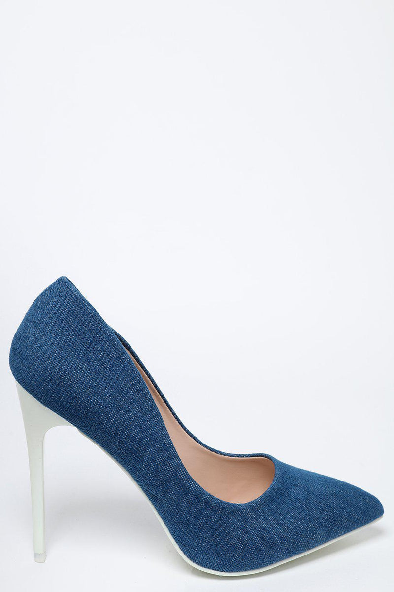 White Heel Denim Stiletto Heels - SinglePrice