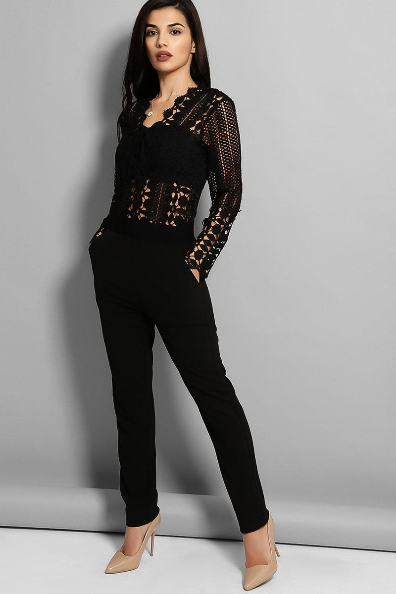 Black Crochet Knit Top Skinny Leg Jumpsuit - SinglePrice