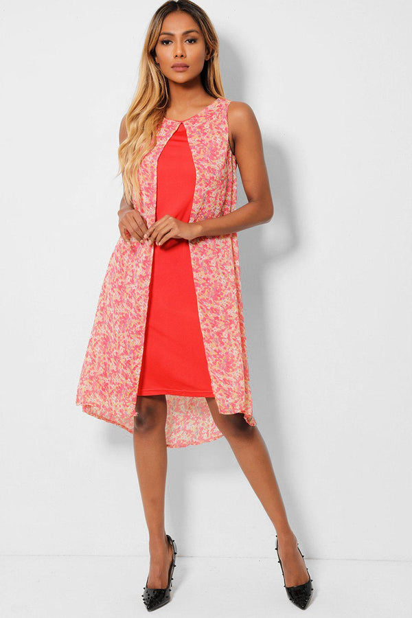 Tiny Floral Print Pink Chiffon Overlay Sleeveless Dress - SinglePrice